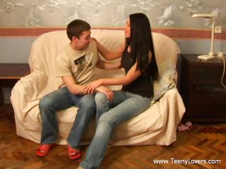 Sexy teens Janna and Mike light up the ottoman with sizzling action.  It begins as just some sinless kissing, but soon the fire is raging.  In a rush of teen lust, the clothes are peeled off.  Janna's sexy little breasts are freed and heaving with excitement.  After a little finger action, Janna takes a stiff cock in her mouth.
