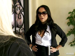 Asa Akira & Alexis Ford are fed in dark uniform. And they in Keiran Lee's house to inspect him! As Keiran was threatened by their large boobs that guy silently co-operated with their search. And as the bitches suspected, they found a dangerous weapon hidden between his legs. To secure it they started to give it double blowjob!