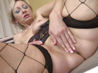 superannuated tow-headed fingering her shaved twat