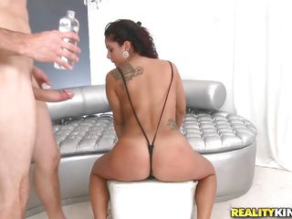 Watch Sasha De La Vega, a hawt Latin sweetheart enjoying her times with that baldy with big dick. See how he is oiling her hawt body, that round a-hole and then puts her like a bitch to start fucking her from behind! With his hard pounding, her nice tits bounces up & down and she's really loving it!