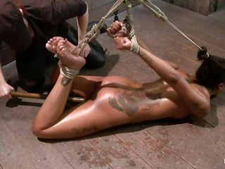 slender black girl gets punished in rope bondage