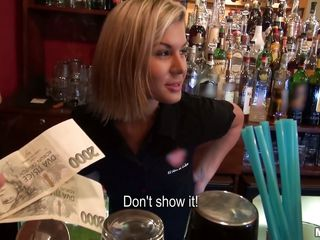 perfect ass waitress acquires a nice tip for being a slut