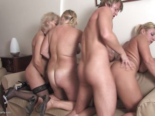 This lucky guy is having a wild foursome sex with three mature ladies. These women are sharing this one lucky cock by turns. The guy is fucking every one of them from behind and these whores are trying to receive pleased by engulfing every others tits & nipples or licking their pussies.