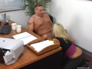 Dana Xxxx sucks Jake X's cock while not taking off a single item of her clothing. He's completely naked though. He's been eyeing the girls at work and now he's being punished. During the time that this chab receives sucked off one more office girl talks dirty and humiliates him.
