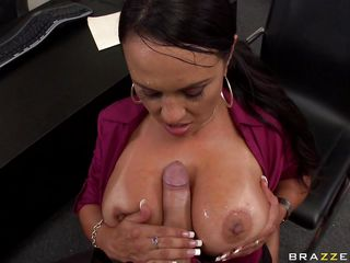 brunette gets screwed between her large tits