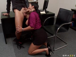 Watch this hawt brunette with huge mounds engulfing cock at work. Look how that babe gets drilled between her big mounds and gets lustful when that babe spanks it on them. Is that babe going to acquire some spunk in her immodest mouth or some cock in her tight pussy?