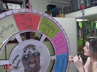cutie spins the wheel of sex and ends up giving head