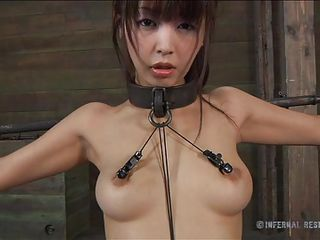 Marica is a cute asian slut and you know how those bitches like to scream way to much then they have to. Well this dude gives her some reason to do it and attached clamps on her nipples, raised her on the feet and then inserted a metal hook in her anus. This babe more excellent look out how she moves with that hook in her booty