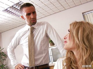 Look at this hot golden-haired working hard at office while that sexy brunette hair leaves the coffee for Lee, but the coffee isn't strong enough and they have to make it up to him. See how much they enjoy rubbing his large hard cock while the brunette hair begins sucking on it. Is he going to cum inside their mouths?