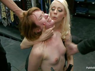 Slutty redhead Claire enjoys being humiliated in public. She sits on her knees with a vibrator on her cunt and is waiting for greater quantity commands from the people who are watching her. A beefy men makes her throat suck his large hard dick, then puts her on a chair and starts fucking that wet pussy. Check it out!