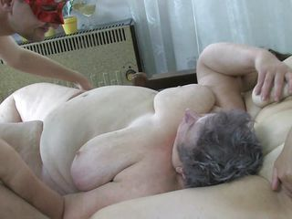 Chubby old whore Eva is in daybed with a bbw and a horny guy. The old whore can handle a trio fuck just as precious as her younger girlfriend. Her massive saggy mangos are being licked and her cunt gaped. Look at her, so big and lustful, it makes you wonder how much cum it's needed to satisfy this granny