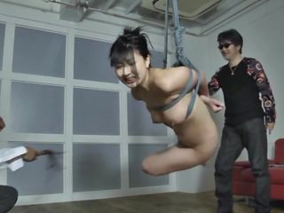 The executor didn't just abased this brunette hair Nippon milf, that guy brooked her self esteem and no that babe accepts her fate. She hangs there and then that babe is lowered only to stay in cowgirl position. After some more humiliation that babe acquires a hardcore fuck from behind that makes her pretty mouth moan and her boobs bounce