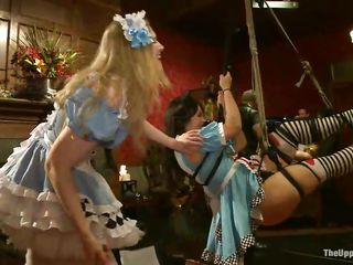 Watch those marvelous girls going wild at a costume party. They have a fun being bound up to the ceiling as the people present there take advantage of their position. Krista Khaos is a brunette hair milf with big tits and a round ass with a great blowjob experience. She is prepared for that man to fuck her throat rough.