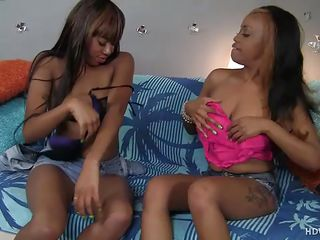horn-mad ebony lesbians together with a dildo