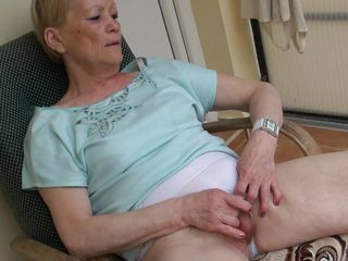 When granny Marie sits on her armchair this babe can't live without to relax and no thing relaxes her more good then a good old fashioned pussy rub. Marie is an old slut and this babe did this a lot of times so this babe knows how to do it. This time, this babe does it with more pleasure, knowing that we are watching and that excites her a lot