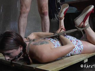 She's Cici, a young cutie that's in a lot of troubles. She's being humiliated and fucked by this old guy and he craves to take the superlatively good out of her. Watch how the old man tied her and used a device to keep her mouth opened? He had a fantasy of a cute girl sucking his dick under the shower and much more