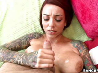 This hawt tattooed slut with big hawt tits, hawt body, juicy lips and hawt legs loves rubbing a hard weenie betwixt her hawt boobs. Look at that pretty face that babe has, the way that babe bites her lips while giving this guy a good handjob, will he cum on her hawt breasts and on her face, covering her in his hawt jizz?