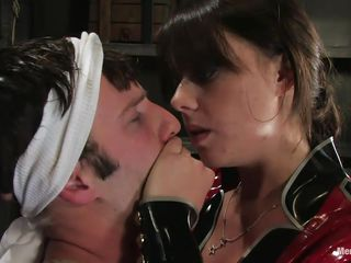 mistress dominating her man and torturing his knob