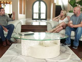Briana Banks and her spouse are offered a guy for doing some act in front of a camera, as spouse begins taking off his clothes that guy is told that the task have to be performed by professional. The large breasted milf agrees with him and likes to be fucked by professional. Her spouse doesn't like this and goes out and then they begins their hardcore action. That guy kisses her and then lay down her on the bed and pull off her pants and sucks her cunt.