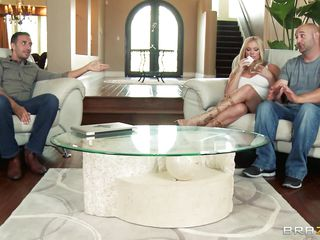 Briana Banks and her spouse are offered a man for doing some act in front of a camera, as spouse starts taking off his garments he is told that the task have to be performed by professional. The big breasted milf agrees with him and likes to be fucked by professional. Her spouse doesn't like this and goes out and then they starts their hardcore action. He kisses her and then lay down her on the bed and pull off her panties and sucks her cunt.