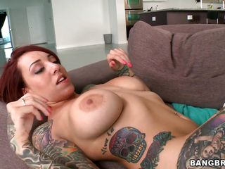 charming tattooed redhead with large tits fucking wildly