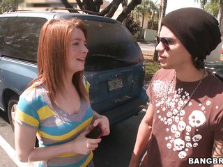 sweet redhead getting essentially the bang bus