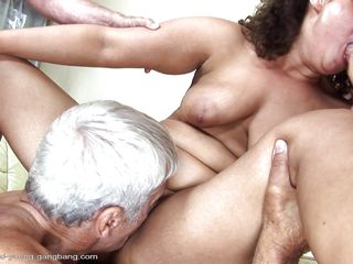 Gabrielle is a chubby milf with big tits who has a thing with old mens so she buries her tongue in their assholes. The guy with white hair probably loves shaved snatches because that guy just can't stop licking her pussy. After all, what old man could hold back when that guy haves a chance for fucking an younger girl?