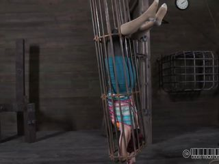 What do we have here? It's a redhead cunt in a small cage and she awaits her punishment. This worthless floozy is about to get an humiliating punishment, just the way she deserves it. See how the executor takes off the hand cuffs and then turns the cage upside down, making her suffer under her own weight?