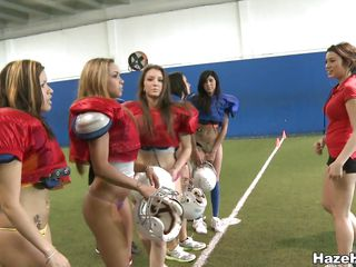 When it's about sport those bitches are giving their best. Look how they educate in their panties, learning how to be the best. Such big hot booty's on that field are surely going to attract some real sportsmen, maybe they will make a short game too?