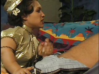 Watch this small brunette milf taking care of her male friend. Watch 'em pleasuring themselves dressed in golden clothes, like a royal kin. The little woman takes his long 10-Pounder and starts slurping on it knowing that doing so will provoke him and will make him to start licking on her hairy pussy.