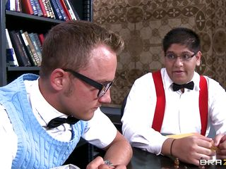 One of these geeks is about to find out something far more interesting than playing chess in the library. That guy gets the distinct honor of sucking on Alexis' huge melons. After getting some playtime with her funbags, she drops to her knees and sucks his unyielding cock. She even sucks his nuts! I'm jealous.