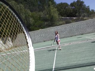 She is out on the tennis court on a bright, warm and sunny day. it makes her very hot and ready to shed her clothes to get rid of her heat. she gets into the shower to reveal a pair of breasts that can drive a fellow crazy and an arse that is a fun to look at. trainer is going to enjoy her body.