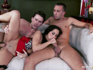 Ava adams is a sexy busted milf who is fucked by two strangers on the sofa during the time that her spouse is lying fainted on the ground. She is in between two hard dicks one is giving her in mouth during the time that other is pushing it from behind in her juicy pussy. Her big breasts are sucked. She gives them a great blowjob and suck their balls. She is anally fucked up by one of the penises. Both dudes are truly enjoying this erotic fuck.