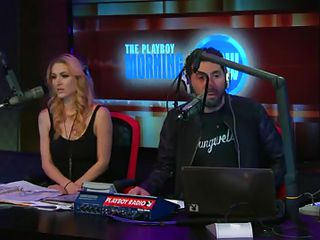 Steven Brody tries to explain a joke, but the hosts don`t agree with him that his jokes are funny. Finally, the bitches who sit next to him wearing sexy lingerie start laughing at one of his jokes and that makes him really happy. The ladies expose their natural tits to him but he wants to see them closer!