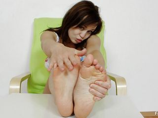 she can't live without her feet and oils them nicely