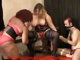 Ebony BBW Female-dominator Tortures Large White Bazookas Bisexual Threesome Bondage