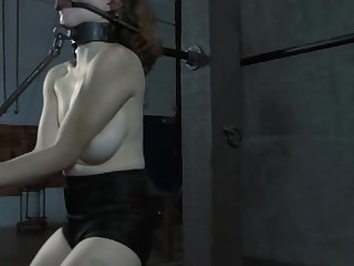Beauty is captive up near her sexy shaved snatch exposed