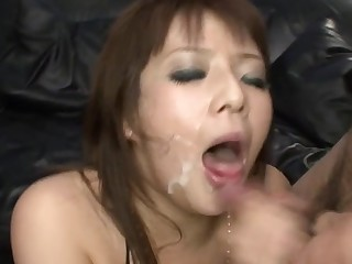 Eye-catching Japanese darling pleases in the air wet fellatio