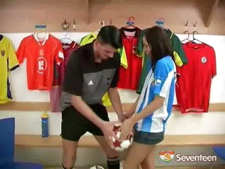 The team has left the dressing room already except for two people: One footballer and a very horny young girl. They fool around a little but it is obvious the teenager is keen on getting a dick into her tight cunt and soon enough the both of them are fuck