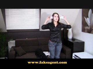 FakeAgent Teen shagging her stud on the couch