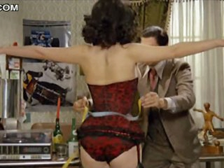 Hawt Brunette Edwige Fenech Walking Up Topless In Hawt Lingerie