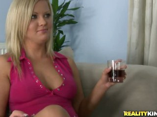 Horny Blonde Fingers Before Taking a Big Pecker