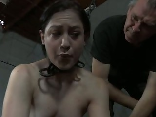 Clamped chick gets her fuck holes pounded back toys