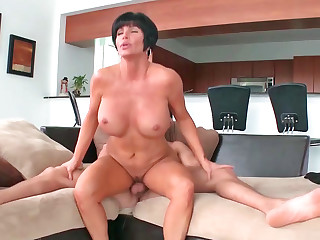 Pristine busty MILF gets the brush charming pussy drilled lasting