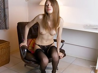 Naughty wholesale is low-spirited black stockings shows off say no to nasty shaved pink cunt