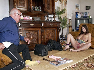 During an interview Mireck admits that that guy has never used any sex toys. In fact, that guy hasn't seen them being used either. So a sales girl with the giant zeppelins that guy has ever seen pays him a visit at home for an extensive demonstration!