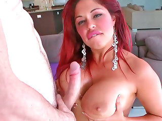 Inviting red haired Latina Helen Cielo rides a broad in the beam hard dick