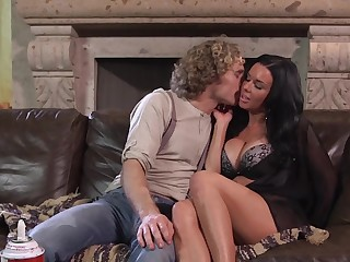 Hot porn leading actress and attractive man have fun together