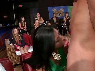 Squirearchy night at the strip club with hot girls sucking on stripper dick