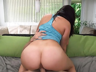 Big ass babe removes her panties from her sizable hot goods